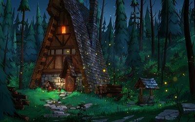 Ночь, Деревья, Лес, Деревянный дом, Колодец