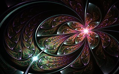 3d, графика, абстракция, фрактал, линии, узоры, свет