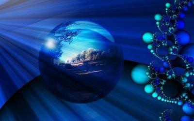 3d, графика, абстракция, сферы, шары, пейзаж