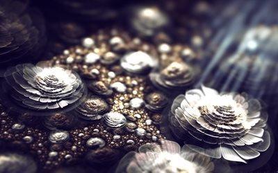 абстракция, 3D, графика, цветы, лучи, свет, боке