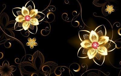 3d, графика, абстракция, линии, цветы, завитушки, узоры