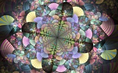 абстракция, 3D, графика, цвета, формы, веер