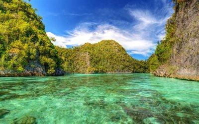 океан, тропические острова, Индонезия, Wayil Lagoon, пальмы, лазурь