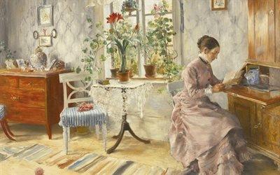 Карл Ларссон, Carl Larsson, шведский художник, Письмо, 1885