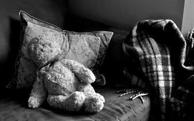 плюшевий ведмідь, плюшевый медведь, игрушка, Черно-белое