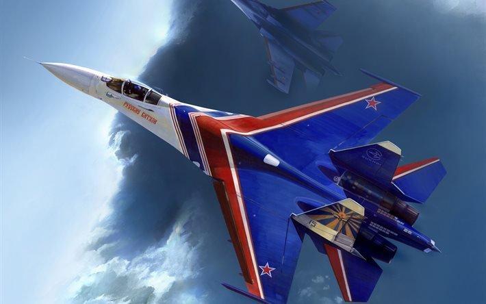 арт, самолет, истребитель, СУ-27, авиационная, группа, высшего, пилотажа, Русские, Витязи, ВВС, России, арт, самолет, истребитель, СУ-27, авиационная, группа, высшего, пилотажа, Русские, Витязи, ВВС, России