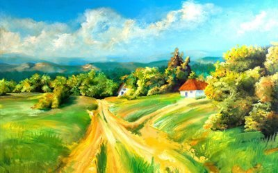 арт, живопись, дома, дорога, деревья облака
