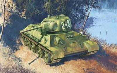 арт, советский, средний танк, Т-34-76, тридцатьчетверка, обр.1942г, ВОВ, СССР, Вторая мировая война, WW2