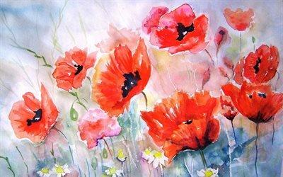 маки, цвета, живопись, цветы