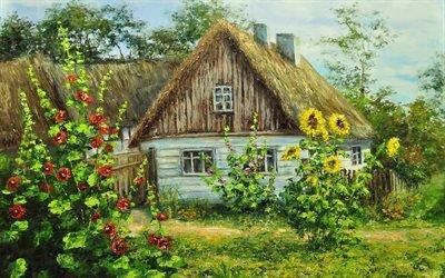 дом, деревня, цветы