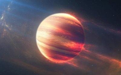 Галлактика, Космос, Газовая планета в огне