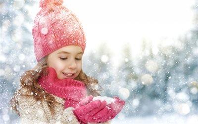 Зима, Девочка, Снег