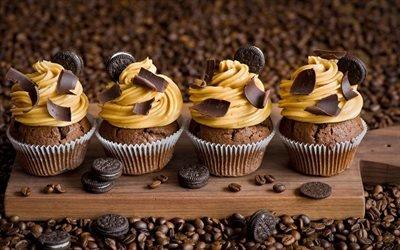 Доска, Печенье, Кофейные зерна, Шоколадные кексы