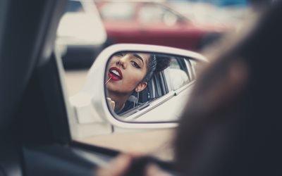 Машина, Девушка, Зеркало, Макияж, Car, Girl, Mirror, Makeup