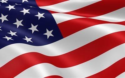 флаг Америки, 4K, флаги, 3д, флаг США, американский флаг