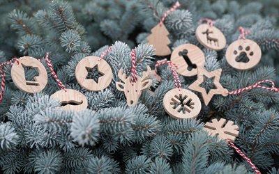 Новый Год, Ёлка, Деревянные игрушки, New Year, Christmas tree, Wooden christmas decorations