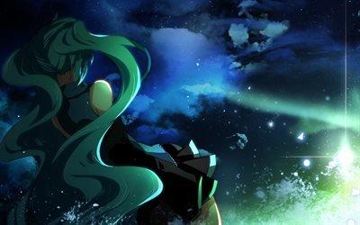 star, звезда, вокалоид, vocaloid, sky, небо, девушка, girl, long hair, длинные волосы, облако, cloud