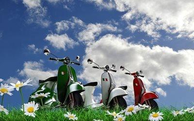 мопеды, скутеры, мотороллеры, природа, небо, трава, цветы, ромашки