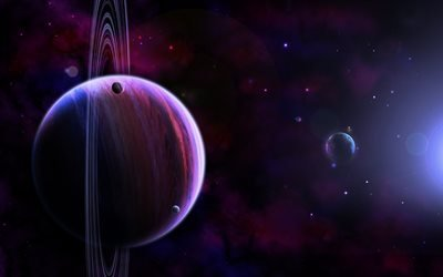 планеты, галактика, туманность, блики, кольца, спутники, звёзды