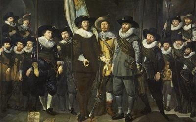 Томас де Кейзер, Thomas de Keyser, голландский художник, Рота капитана Алларта Клока и лейтенанта Лукаса Якобса, 1632, холст, масло