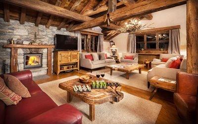 Интерьер гостиной в прованском стиле, Шале Орлиное гнездо, Французские Альпы