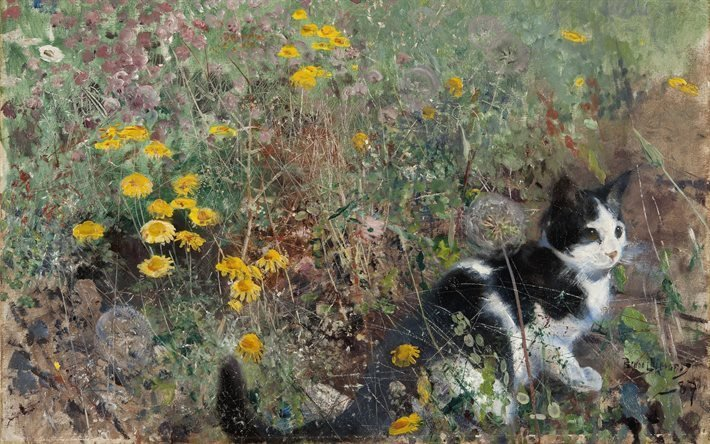 Бруно Лильефорс, Bruno Liljefors, шведский живописец-анималист, Cat in Field of Flowers, Кот в поле цветов