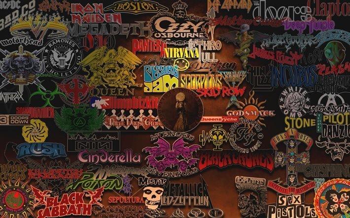 эмблемы, этикетки, рок, стиль музыки, тяжелый рок