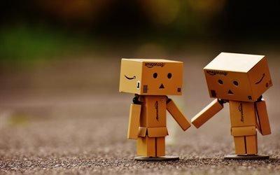 Данбо, пара, картоный робот, размытость, Danbo