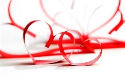 любовь, ленты, красные сердца, сердечки из лент