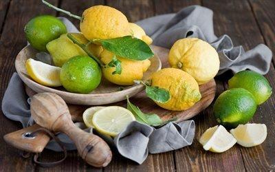 Натюрморт с лимонами, Салфетка, Деревянная доска, Миска, Лимоны