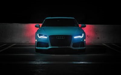 Ауди РС7 Спортбэк, ночь, голубая ауди, парковка, Audi RS7 Sportback