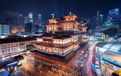Сингапур, храм, ночной город, музей, ночь, Азия