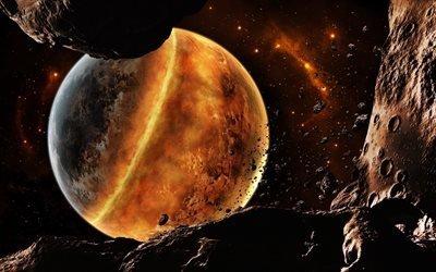планеты, астероиды, галактика, огненная планета, туманность