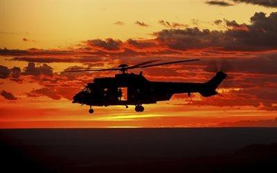 Закат, Аэропорт Качимбо, Пара, Бразилия, многоцелевой вертолёт, Sunset, Cachimbo Airport, Para, Brazil, Eurocopter EC725 Caracal