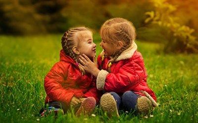 дети, девочки, пара, природа, дружба, ласка, нежность