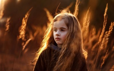 ребёнок, девочка, природа, трава
