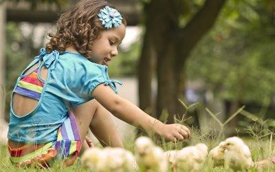 дети, ребёнок, девочка, природа, лето, цыплята, птенцы