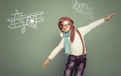 дети, мальчик, ребёнок, шлем, лётчик, самолёты, рисунки, игра