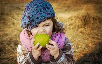 дети, ребёнок, девочка, яблоко, фрукт