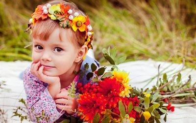 дети, ребёнок, девочка, природа, поле, цветы, венок