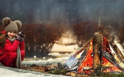 дети, ребёнок, девочка, природа, зима, костёр, огонь