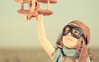 дети, ребёнок, мальчик, шлем, лётчик, самолёт, игрушка, игра, небо