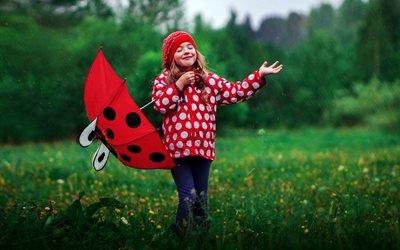 дети, ребёнок, девочка, природа, дождь, зонт