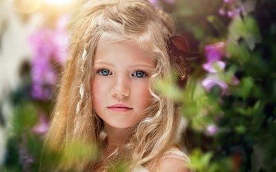 дети, ребёнок, девочка, блондинка, локоны, лицо, природа