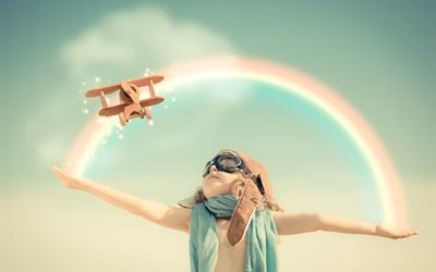 дети, ребёнок, мальчик, шлем, лётчик, самолёт, игрушка, игра, небо, радуга