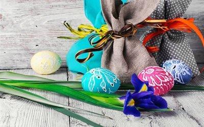 Пасха, Easter, праздник, доски, яйца, декор, цветок, ирис, мешки