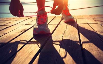 Бег, Кроссовки, Шнурки, Спорт, Деревянный настил