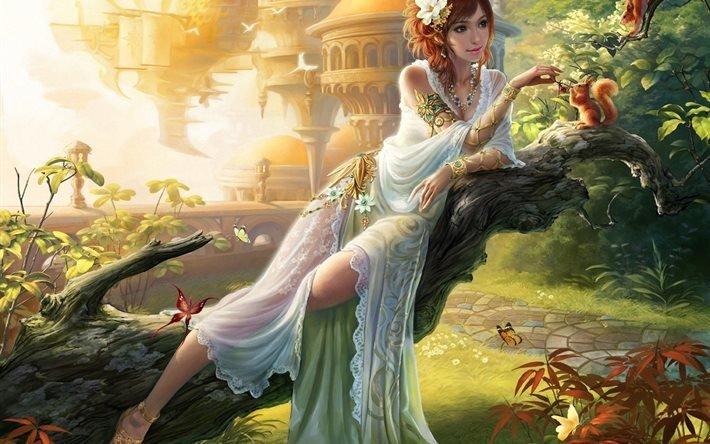 арт, фэнтези, девушка, в, саду, кормление, белок, бабочки, ягоды, цветы, к, городу, дорожка