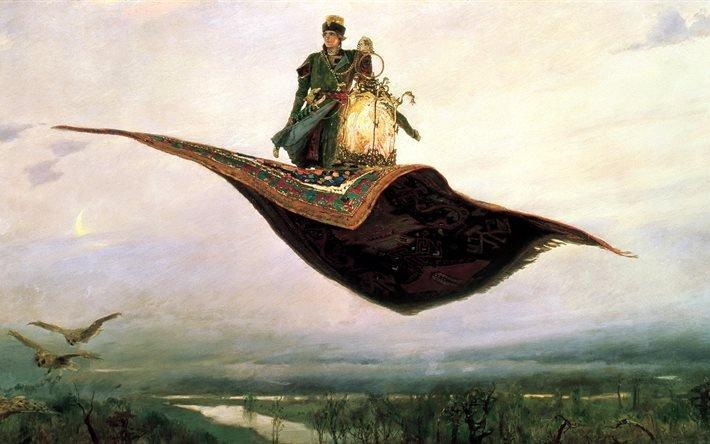 живопись, Виктор Михайлович Васнецов, Ковер, самолет, сказка, картина, 1880г, фантастическое, средство, передвижения, по, воздуху