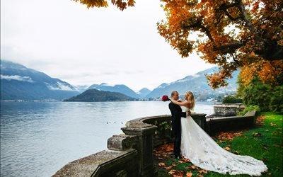 люди, жених, невеста, пара, свадьба, природа, осень, озеро, вода